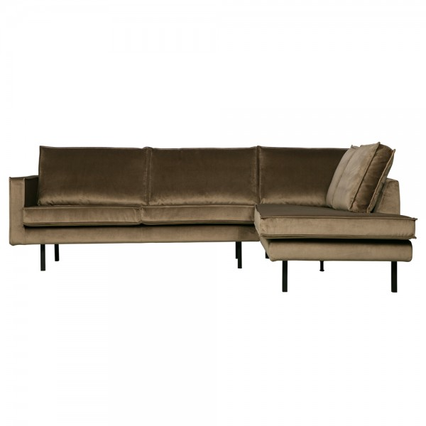 Eckgarnitur Rodeo Samt taupe Couch Sofa Ecksofa Longchair rechts