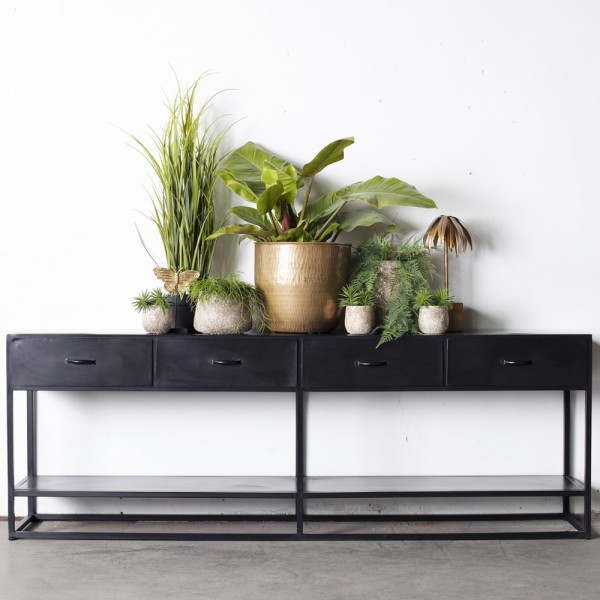 Industrie Konsole Dolly 200 cm Sideboard Metall schwarz