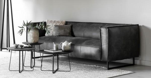 DTP Home 3-Sitzer Sofa River 224 cm Leder anthrazit