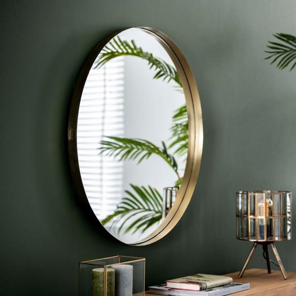 Wandspiegel Ø 75 cm Metallrahmen goldfarben Spiegel Dekospiegel