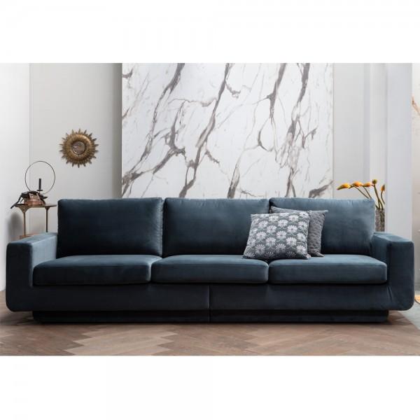 be pure 3 Sitzer Sofa Fame 282 cm Samt Velvet blaugrün Couch