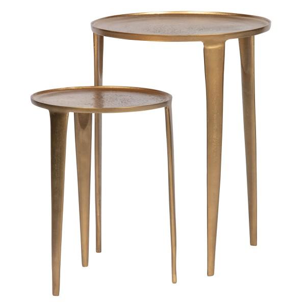 BePureHome 2er Tischset Beistelltisch Medaillon antik Messing