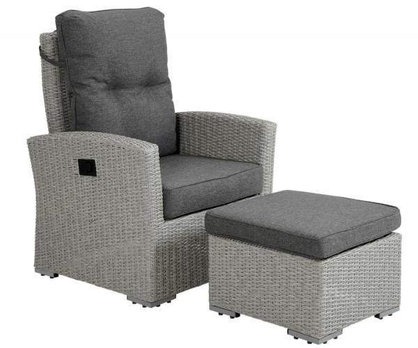 Brafab Gartensessel Ashfield Fußhocker grau verstellbar Polyrattan Polster Gartenmöbel Sessel