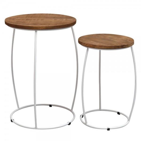 2er Set Beistelltische Will Mangoholz Metall weiß Sofatisch Anstelltische Tische