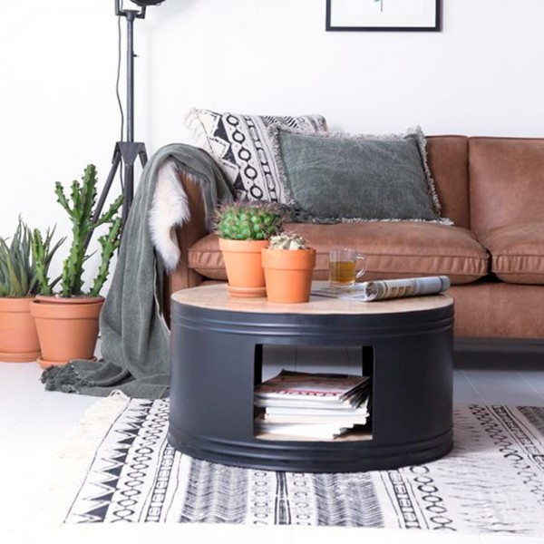 Couchtisch BARREL Ø 70 cm schwarz Tisch Kaffeetisch Mango Metall Sofatisch