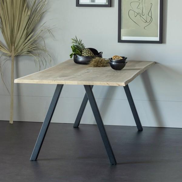 Esstisch Tablo 160 x 90 cm Eiche Baumkante Metall A-Beine