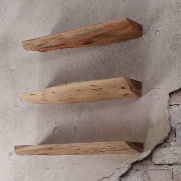 3er Set Wandregal 60 cm Akazie Regal Holzregale