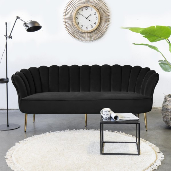 Giga 3 Sitzer Sofa Jada schwarz 192 cm Samt Sofabank