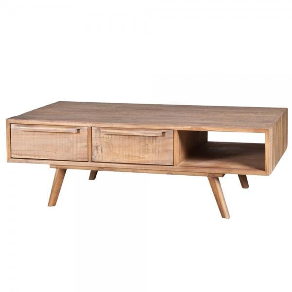 Retro Massivholz Couchtisch 120 x 70 cm Teak Holz mit 4 Schubladen