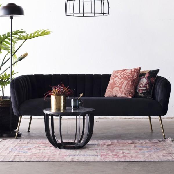 3 Sitzer Sofabank Sofa Amy 180 cm Samt schwarz