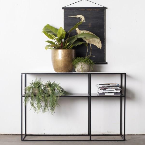 Beistelltisch Aurelia 140 x 38 cm Marmor weiß Metall Anstelltisch Tisch Kaffeetisch