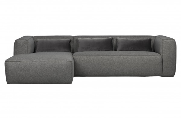 WOOOD Ecksofa BEAN mittelgrau Longchair links