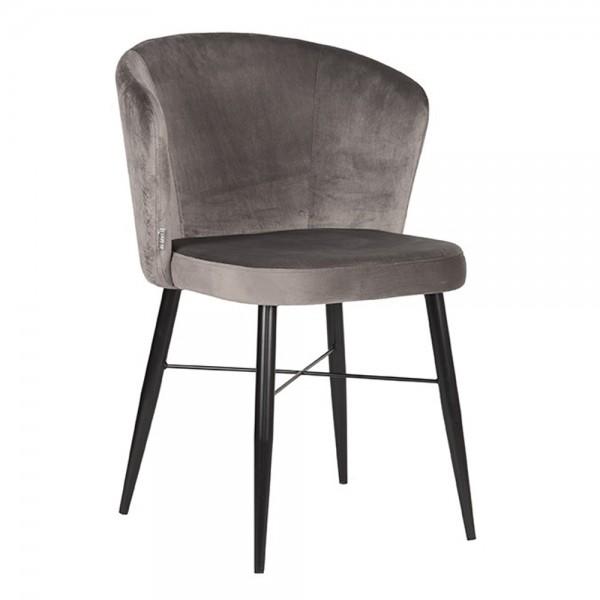 Esszimmerstuhl Stuhl WIND grau Velvet Samt Samtstuhl