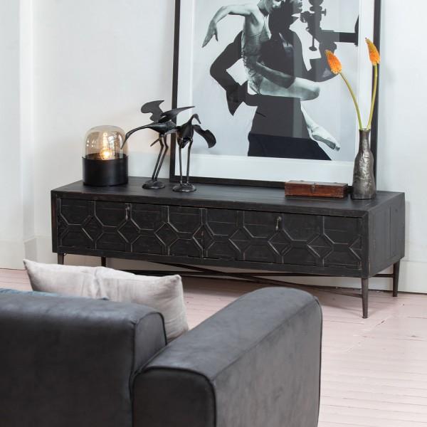 BePureHome TV Möbel Bequest 160 cm TV-Board Lowboard schwarz