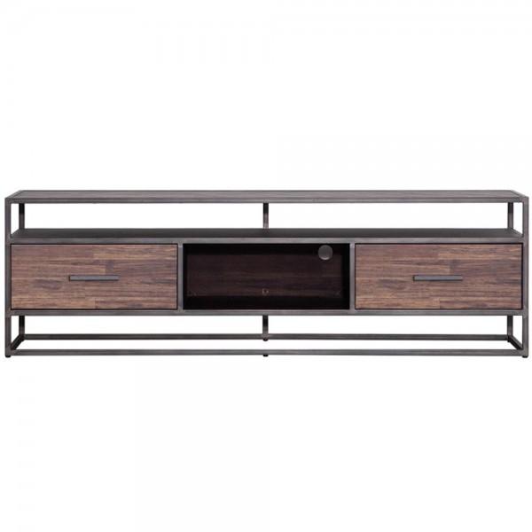 TV Möbel Hudson 185 cm Schubladen Sideboard Kommode Lowboard Akazie braun Metall