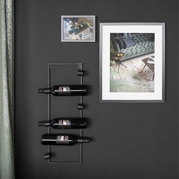 Wand Weinregal Vine 69 cm Metall schwarz Weinschrank