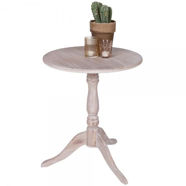 Beistelltisch Bistrotisch IVY Ø 50 cm Tisch Kaffeetisch Massivholz whitewash