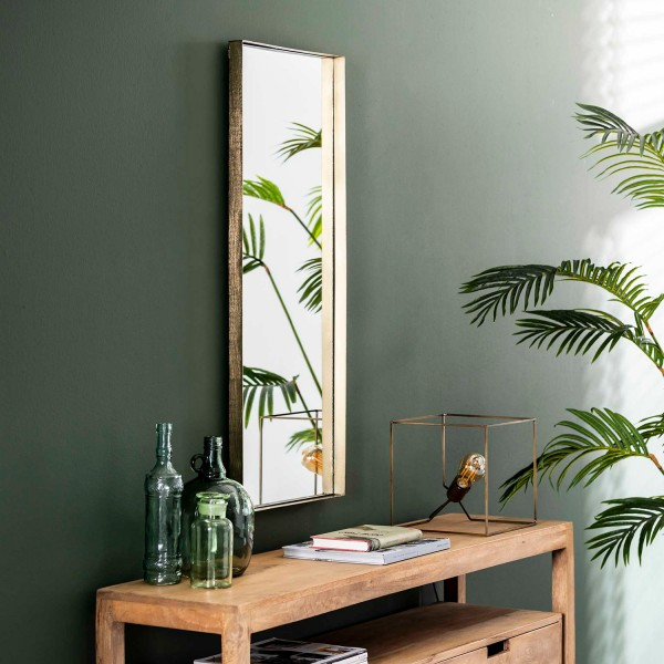 Wandspiegel 100 x 40 cm Metallrahmen goldfarben Spiegel Dekospiegel