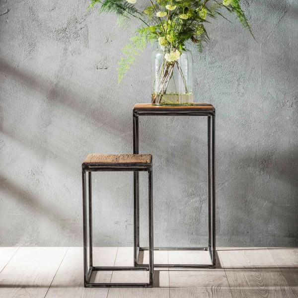 2er Set Blumensäule GRANULAR Hartholz Metall Beistelltische