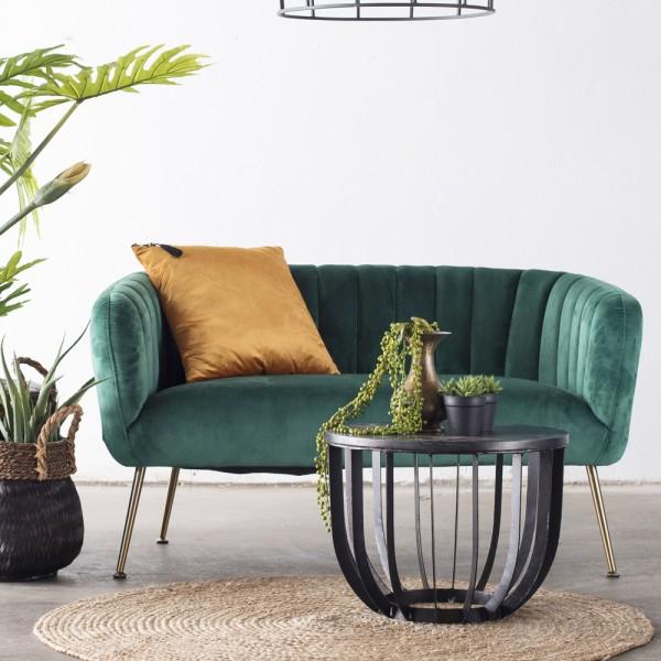 2 Sitzer Sofabank Sofa Amy 130 cm Samt grün Sitzbank