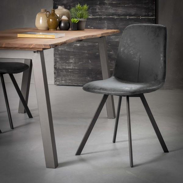 4er Set Stuhl Flachrohr Kunstleder schwarz Esszimmerstuhl Dinnerstuhl Esstischstuhl