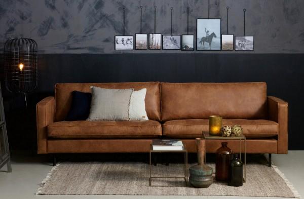 BePureHome 3 Sitzer Sofa RODEO CLASSIC Leder Lederfofa cognac