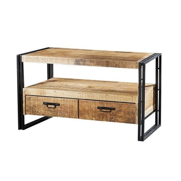 Industrie TV Möbel Lowboard KENADO 102 cm Akazie Massivholz Metall