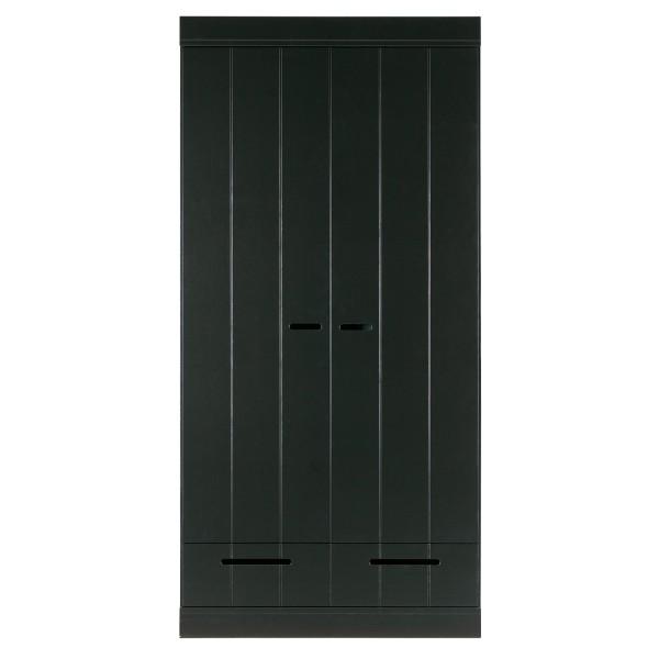 WOOOD Kleiderschrank Connect 2 Türen und Schubalden Kiefer schwarz Schrank