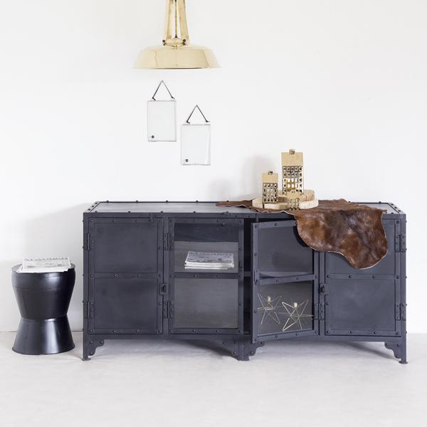 industrie design tv m bel tisch fernseh kommode tv rack board metall schwarz new maison. Black Bedroom Furniture Sets. Home Design Ideas