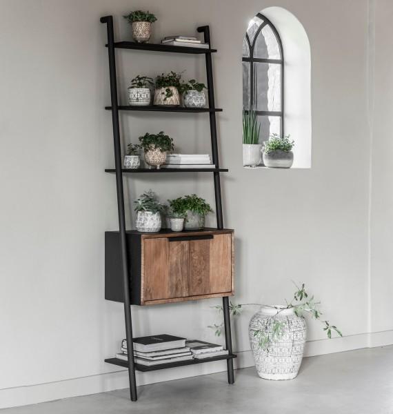 DTP Home Wandregal Cosmo H 200 cm mit 2 Türen Teakholz Metall