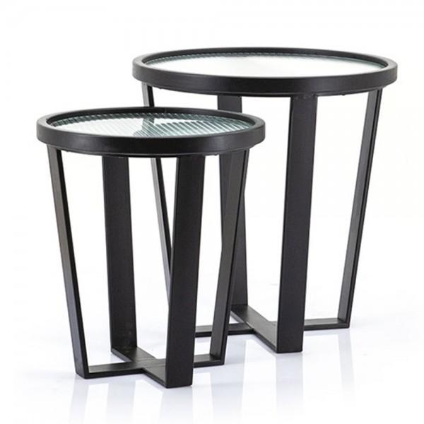 2er Set Beistelltisch Loup klein Metall schwarz Glas Sofatisch Anstelltisch Couchtisch