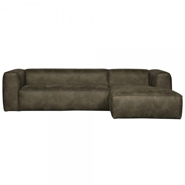 Eckgarnitur BEAN Leder armygrün Couch Polster Sofa Ecksofa Longchair rechts