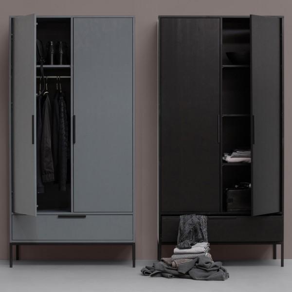 Kleiderschrank Adam schwarz 100 cm Schrank Schlafzimmer Kiefer