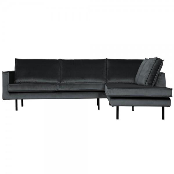 Eckgarnitur Rodeo Samt dunkelgrau Couch Sofa Ecksofa Longchair rechts
