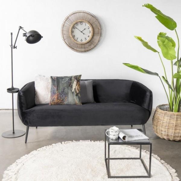Giga 3 Sitzer Sofa Auras schwarz 179 cm Samt Sitzbank Küchensofa