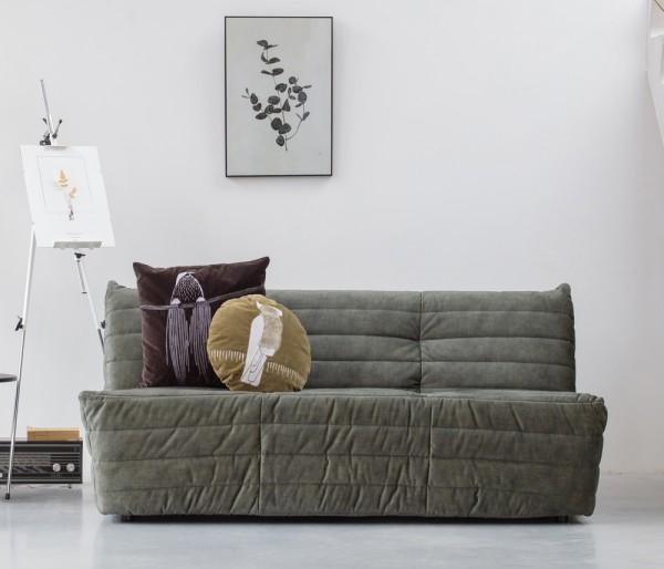 Woood Sofa Bag 160 cm Samt grün Couch