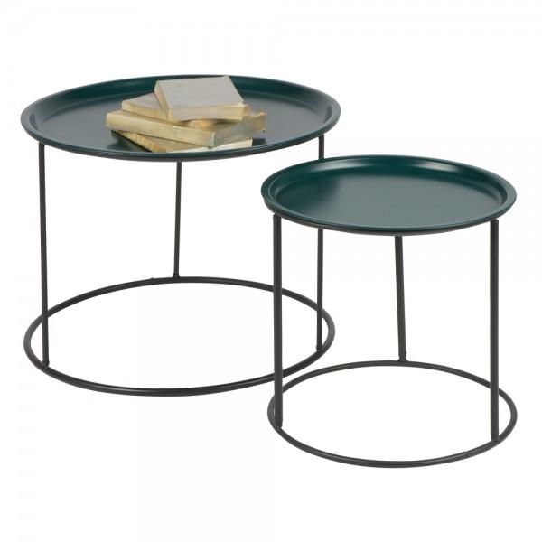 Beistelltisch Couchtisch IVAR Ø 56 cm Tisch Kaffeetisch Tablett Metall petrol