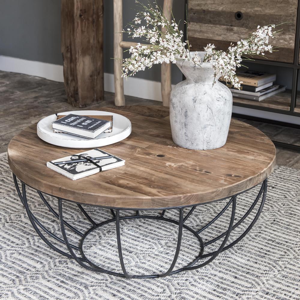 couchtisch madison 80 cm rund metall holz korb schwarz sofatisch new maison esto ihr. Black Bedroom Furniture Sets. Home Design Ideas