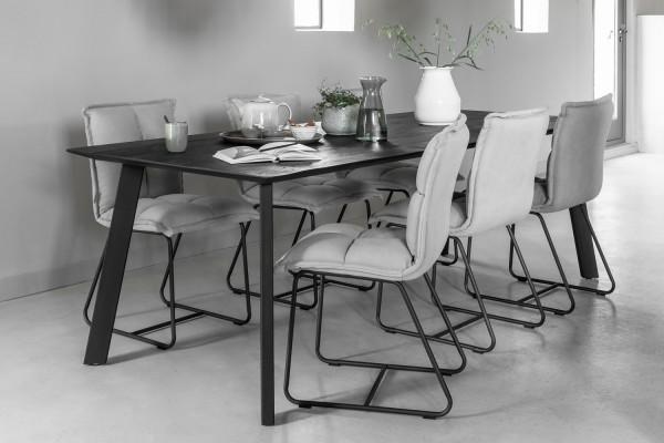 DTP Home Esstisch Timeless 225 x 100 cm Teakholz Metall schwarz Dinnertisch Tisch