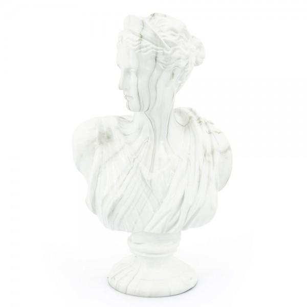 Deko Skulptur Ceres weiß marmoriert Tischdeko Standfigur Figur Statue Büste