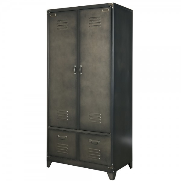 metallschrank spindschrank w scheschrank kleiderschrank metall vintage schwarz new maison. Black Bedroom Furniture Sets. Home Design Ideas