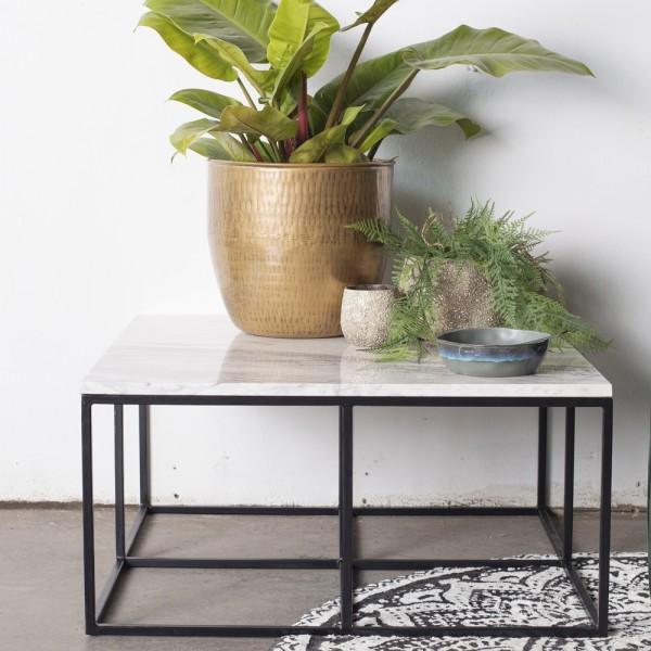 Couchtisch Vico 80 x 80 cm Marmor weiß Metall Beistelltisch Anstelltisch Tisch Sofatisch Kaffeetisch