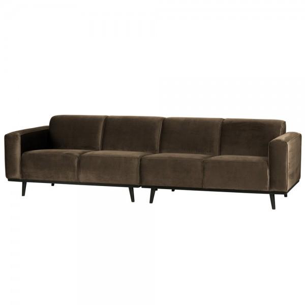 4 Sitzer Sofa STATEMENT Samt taupe Couch Garnitur Samtsofa Couchgarnitur