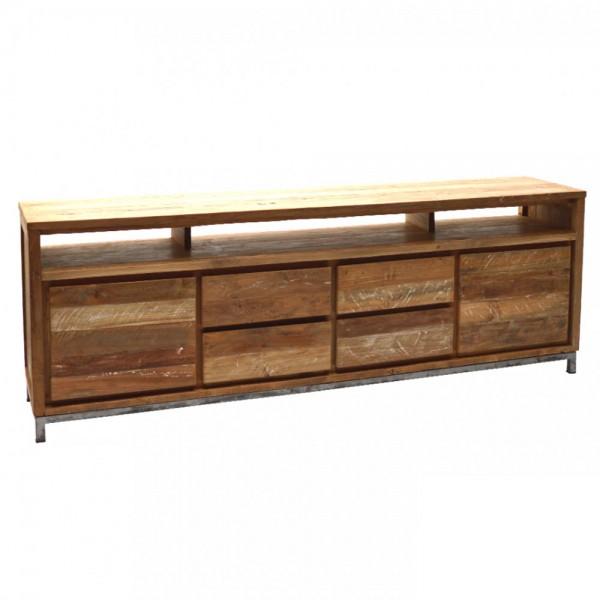 Vintage Sideboard BOSTON 220 cm Teakholz massiv 2 Türen 4 Schubladen Schrank