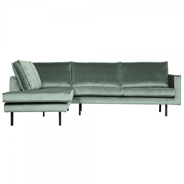 Eckgarnitur Rodeo Samt mint Couch Sofa Ecksofa Longchair links