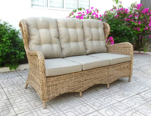 3 Sitzer Lounge Gartenbank Sofa Rosita natur incl. Polsterung