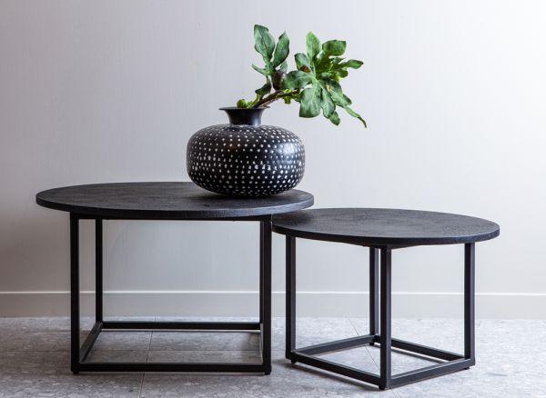 woood 2er Tischset rund Beistelltisch Enzo schwarz Holz Eisen
