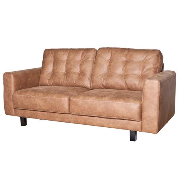 Landhaus Sofa 2,5 Sitzer 3 Sitzer REGINA Kunstleder Lounge Couch Garnitur cognac