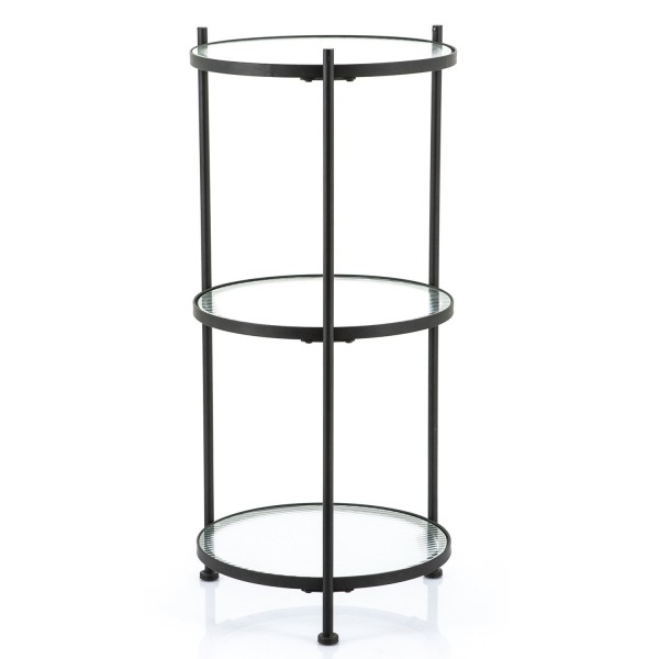 Beistelltisch Scope 3 Ebenen rund H 89 cm Metall schwarz Glas