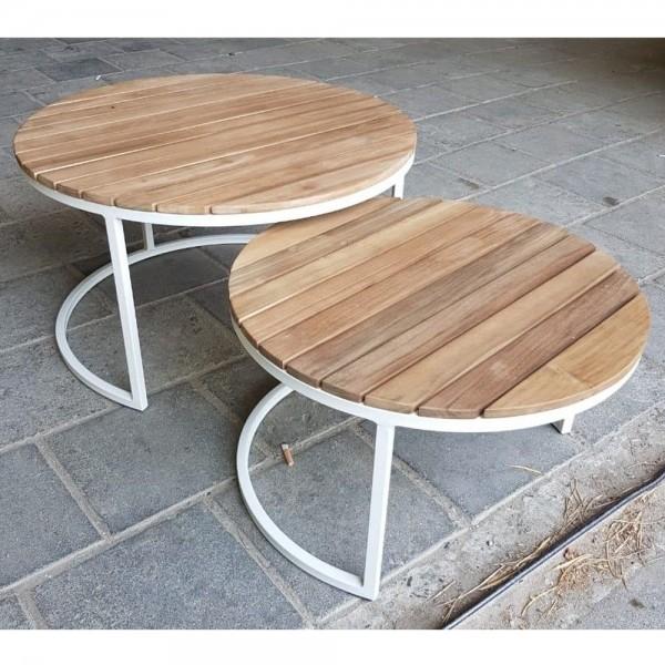 2er Set Gartentisch Beistelltisch Teak Aluminium Couchtisch Garten